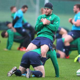 Darren Cave in training for Ireland, Carton House, Dublin, January 31, 2014