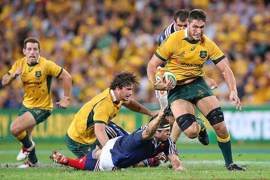 Australia's Rob Simmons makes a break