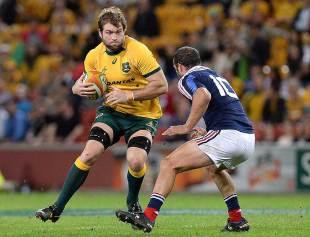 Australia's Ben McCalman takes on France's Frederic Michalak, Australia v France, Suncorp Stadium, Brisbane, June 7, 2014