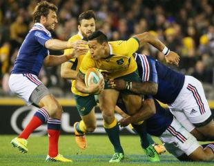 Israel Folau is tackled,  Australia v France, 2nd Test, Melbourne, June 14, 2014
