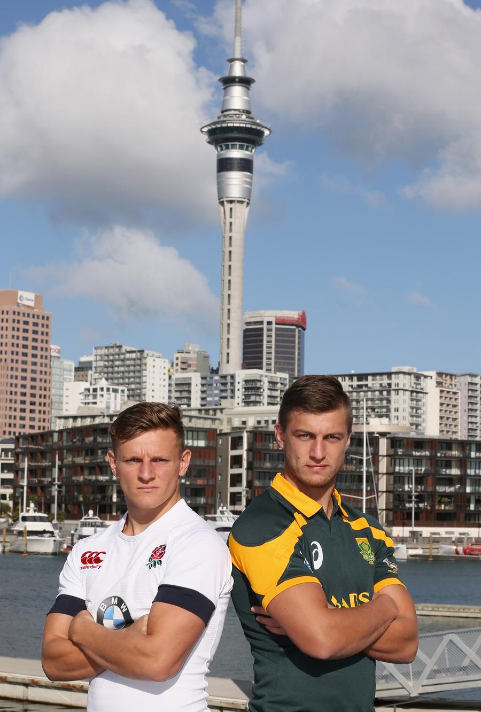 Callum Braley and Handre Pollard pose ahead of the Junior World Championship final