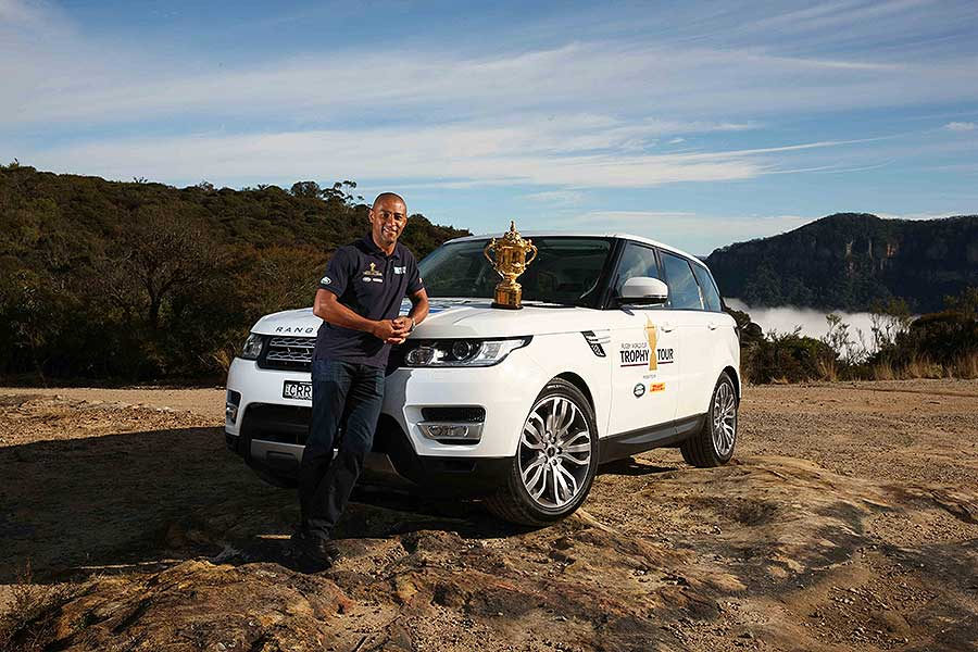 George Gregan poses with the Webb Ellis Trophy on the Land-Rover Trophy Tour in the Blue Mountains west of Sydney