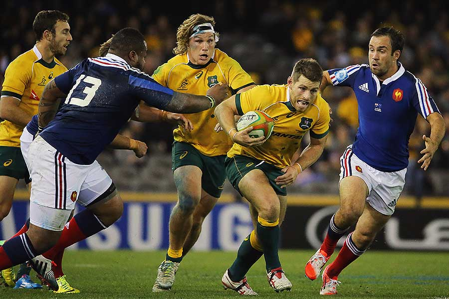 Australia's Bernard Foley makes a break