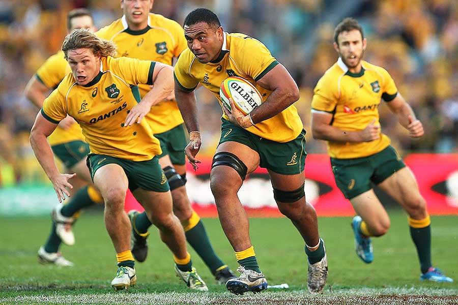 Australia's Wycliff Palu runs the ball