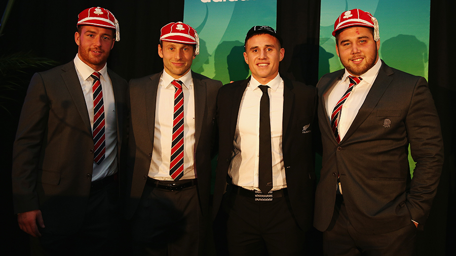 Joe Gray, Chris Pennell, TJ Perenara and Kieran Brookes pose with their new caps