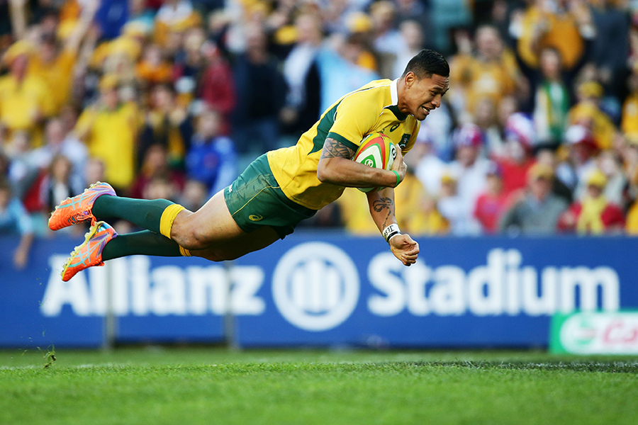 Israel Folau leaps to score a try