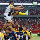 The Brumbies' Jordan Smiler leaps for the ball