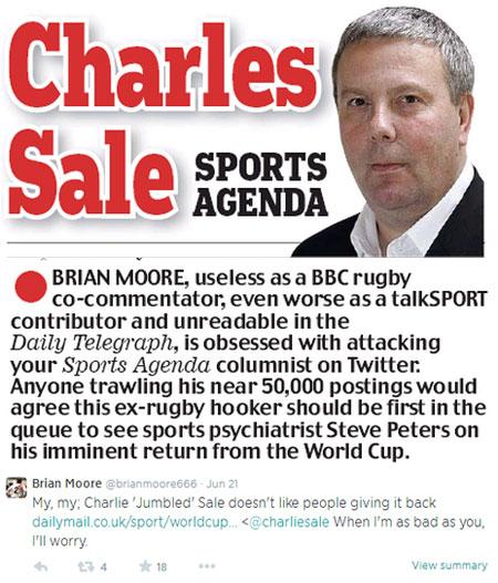 Charlie Sale - Brain Moore spat