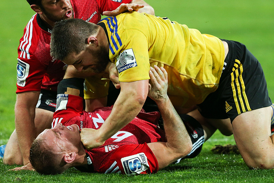 Andy Ellis and Dane Coles enjoy a scuffle