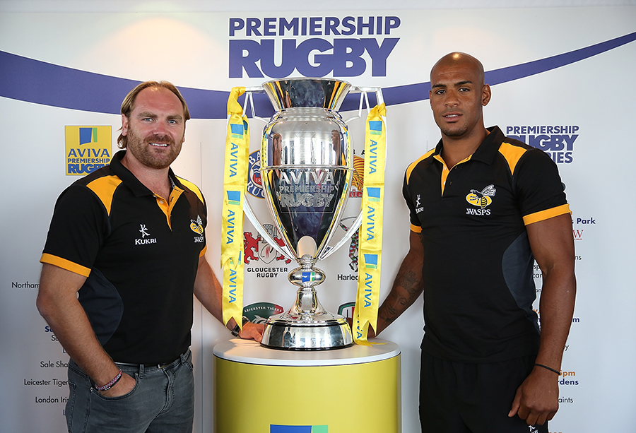 Andy Goode and Tom Varndell of Wasps pose with the Premiership trophy