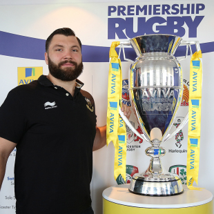 Alex Corbisiero proudly poses with the Premiership trophy, Premiership Rugby 2014-15 fixtures announcement, BT Tower, July 4, 2014