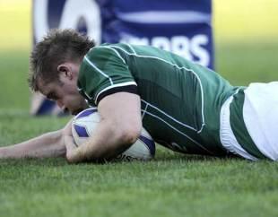 Ireland's Luke Fitzgerald scores against Italy, Italy v Ireland, Six Nations Championship, Flaminio Stadium, Rome, Italy, Febuary 15, 2009.