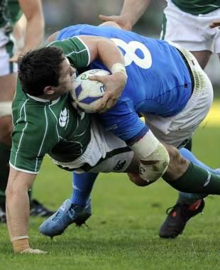 Ireland's David Wallace istackled by Italy's Sergio Parisse, Italy v Ireland, Six Nations Championship, Flaminio Stadium, Rome, Italy, Febuary 15, 2009