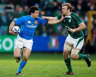 Italy's Andrea Masi fends off Ireland's Stephen Ferris, Italy v Ireland, Six Nations Championship, Flaminio Stadium, Rome, Italy, February 15, 2009