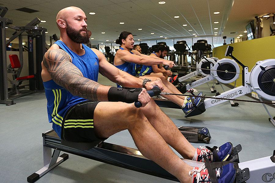 New Zealand All Blacks Sevens' DJ Forbes on a rowing machine