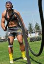 John Ulugia gets stuck into some pre-season training