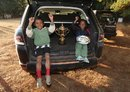 Two local Madagascan children pose with the Webb Ellis Trophy