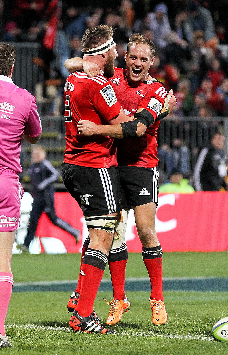The Crusaders' Kieran Read and Andy Ellis celebrate the back-rower's try