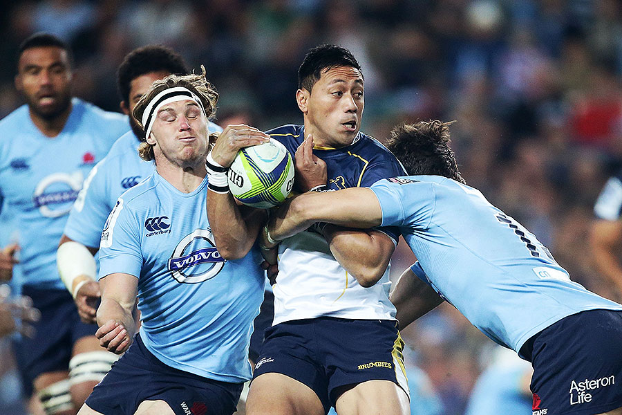 The Brumbies' Christian Leali'ifano is tackled