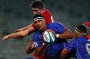 Samoa's Cameron Skelton wins a lineout