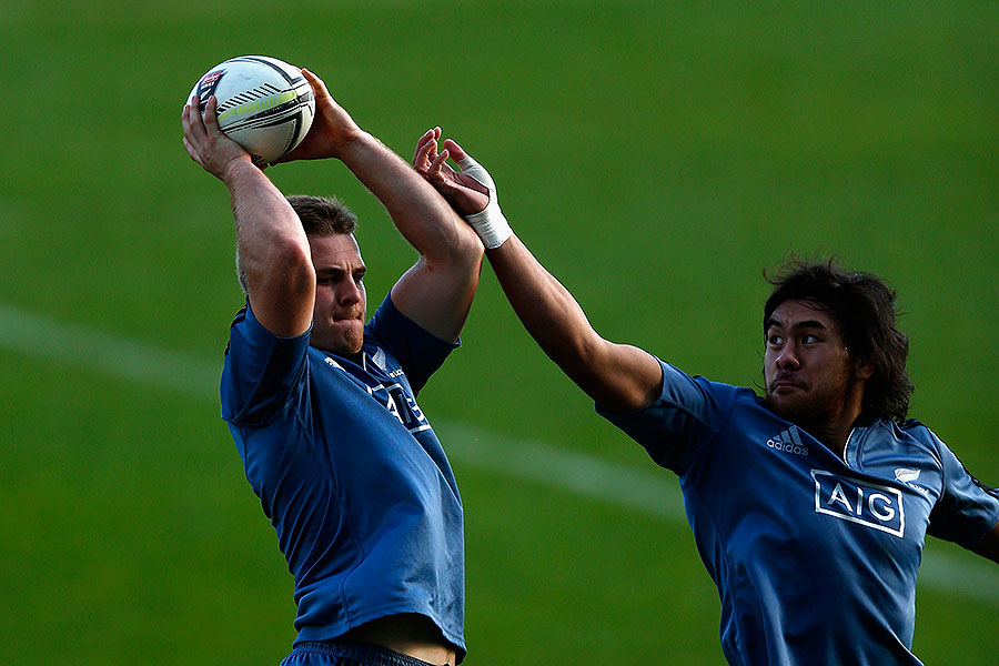 New Zealand's Sam Cane and Steven Luatua work in a lineout drill