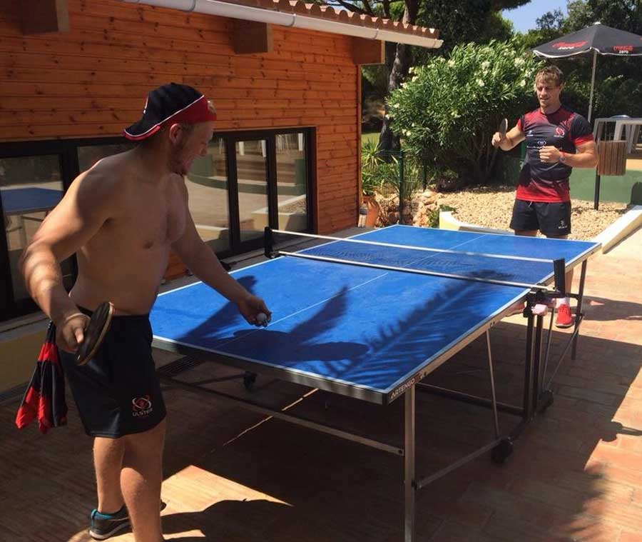 Ulster's Stuart Olding and Andrew Trimble play some table tennis while on a pre-season camp in Portugal