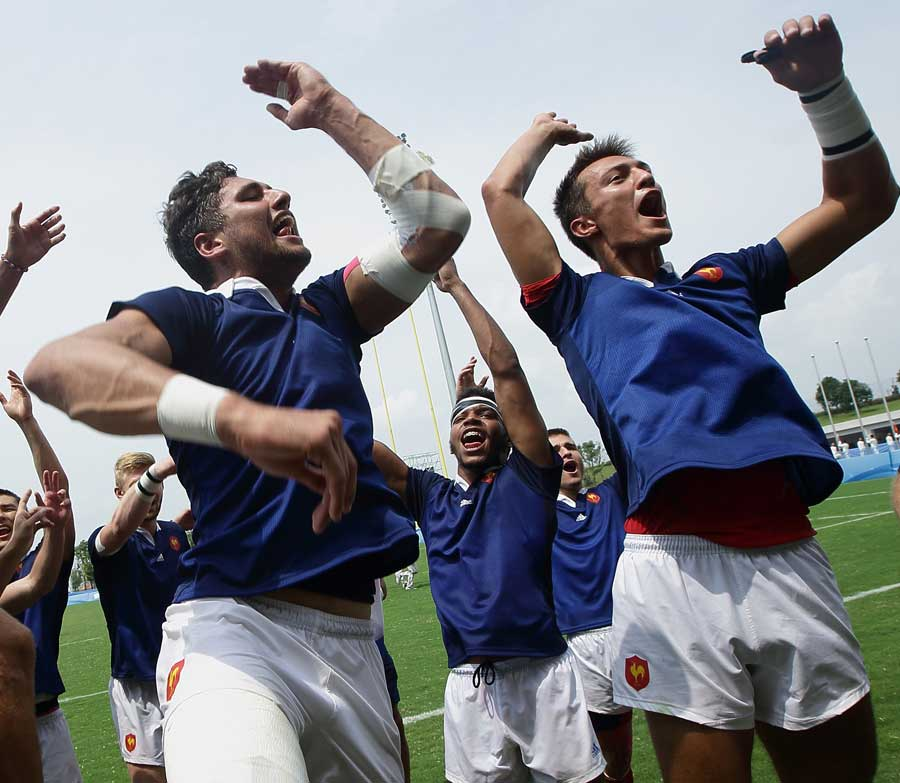 France celebrate winning the gold medal at the Nanjing 2014 Summer Youth Olympic Games