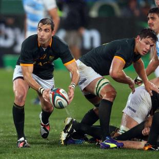 Ruan Pienaar fires a pass, South Africa v Argentina, Rugby Championship, Loftus Versfeld, Pretoria, August 16, 2014