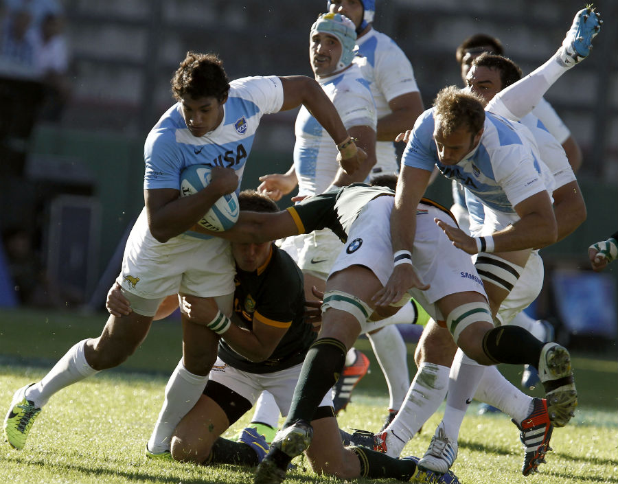 Argentina's Manuel Montero tries to make a break