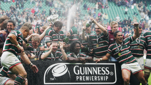 Leicester Tigers' ecstatic players celebrate with the Premiership trophy following an emphatic 44-16 win over Gloucester, Gloucester v Leicester Tigers, Premiership final, Twickenham, May 12 2007.