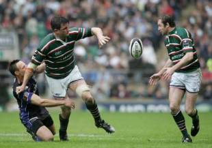 Martin Corry offloads the ball