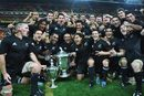 New Zealand celebrate winning the 2008 Tri-Nations and retaining the Bledisloe Cup