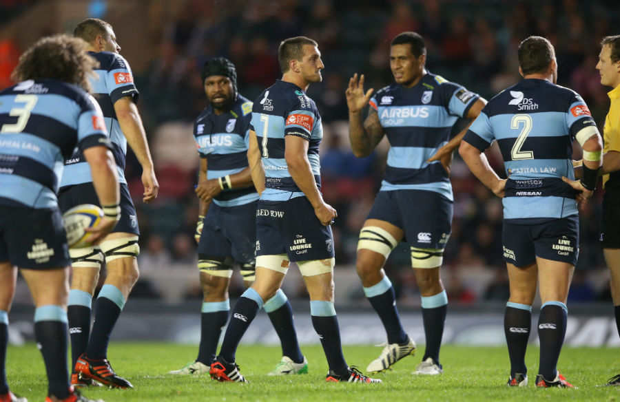 Sam Warburton issues instructions during the pre-season friendly in Leicester