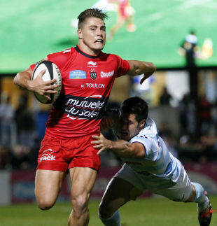 Toulon's James O'Connor tries to make some yards, Racing Metro v Toulon,  Top 14, Colombes. August 30, 2014