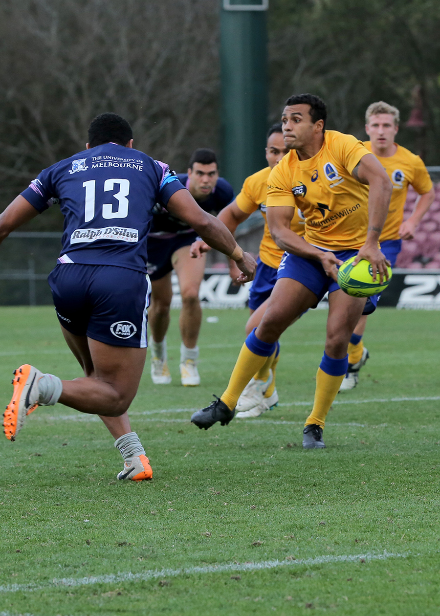 Brisbane City's Will Genia passes the ball in his first NRC match
