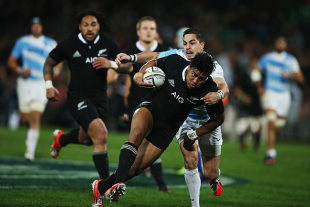 All Blacks' wing Julian Savea breaks through an Argentina tackle to crash over for his second try, New Zealand v Argentina, Rugby Championship, McLean Park, Napier, September 6, 2014