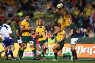 Wallabies' fullback Israel Folau celebrates a try, Australia v South Africa, Rugby Championship, Patersons Stadium, Perth, September 6, 2014