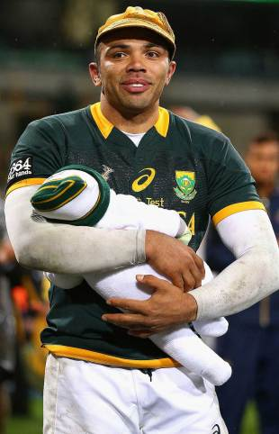 South Africa's Bryan Habana was presented with a commemorative cap after playing his 100th Test, Australia v South Africa, Rugby Championship, Patersons Stadium, Perth, September 6, 2014