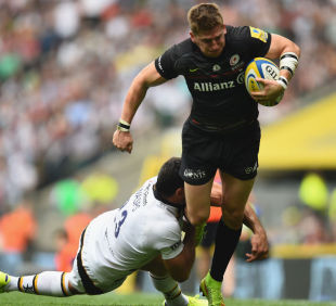Saracens' David Strettle breaks through the Wasps tackle Saracens v Wasps, Aviva Premiership, Twickenham, September 6, 2014