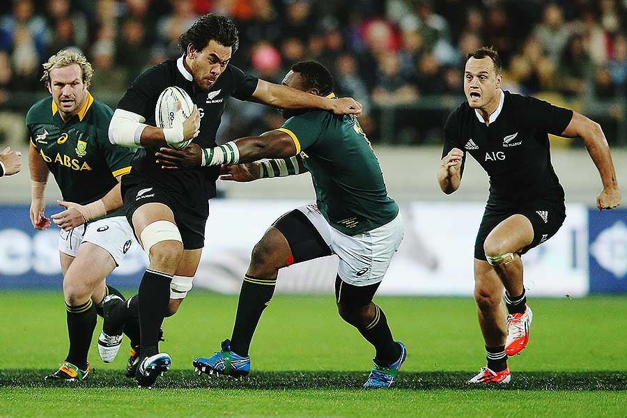 New Zealand's Steven Luatua charges forward