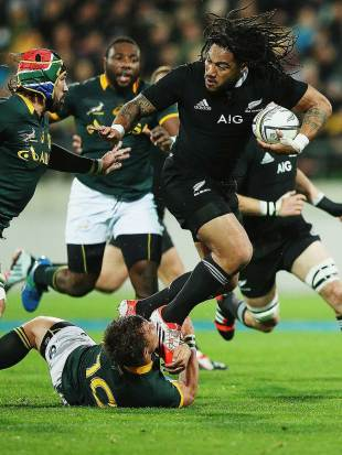 New Zealand's Ma'a Nonu runs through South Africa's Handre Pollard, New Zealand v South Africa, Rugby Championship, Westpac Stadium, Wellington, September 13, 2014