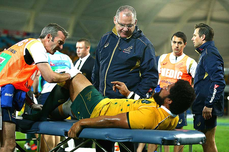 Australia's Tatafu Polota-Nau suffered a serious ankle injury