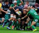 Newcastle Falcons' Josh Furno is carried towards the line