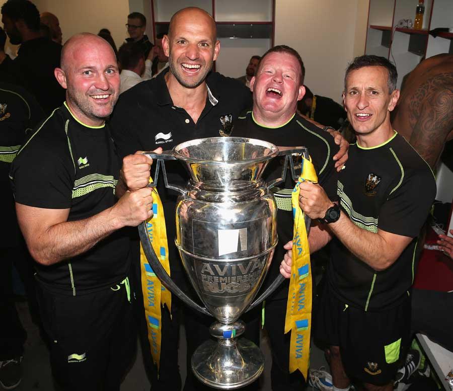 The Northampton Saints coaches celebrate their Aviva Premiership triumph