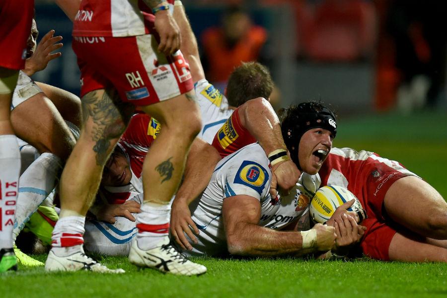 Exeter Chiefs' Ben White celebrates going over