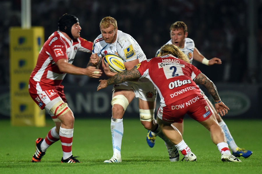 Exeter Chiefs' Damian Welch is tackled