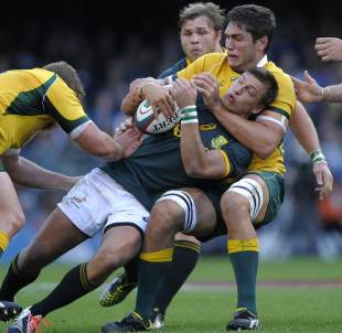 South Africa's Handre Pollard is halted by the Australian defence, South Africa v Australia, Rugby Championship, Newlands, Cape Town, September 27, 2014