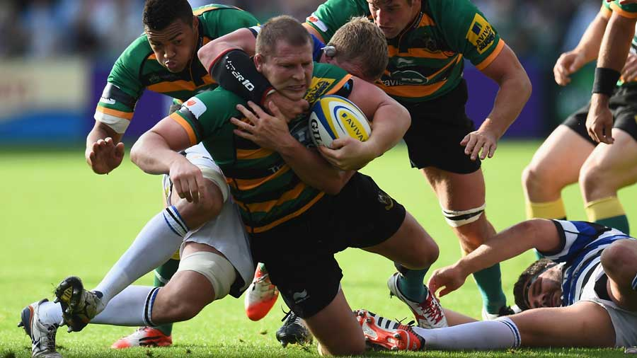 Northampton's Dylan Hartley tries to make some yards