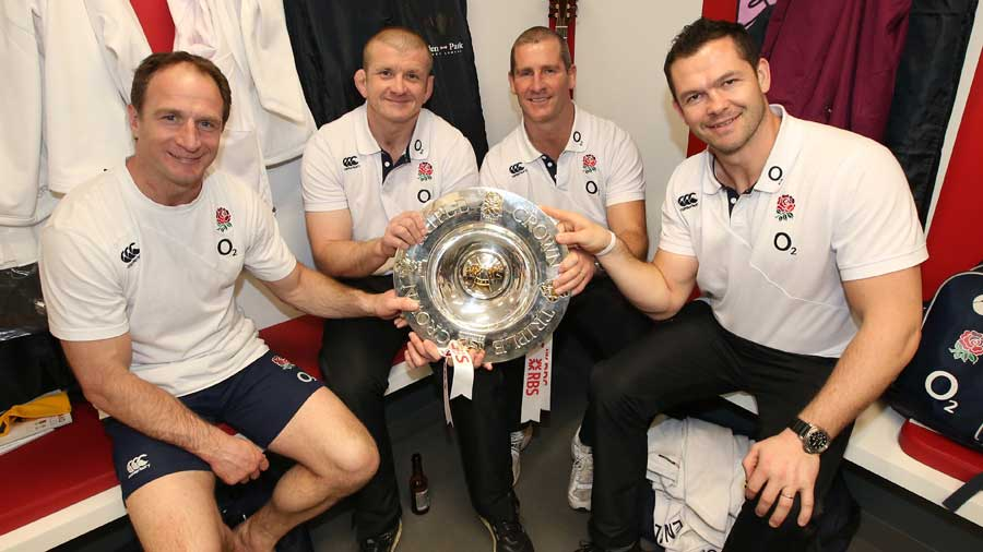Mike Catt, Graham Rowntree, Stuart Lancaster and Andy Farrell with the Triple Crown