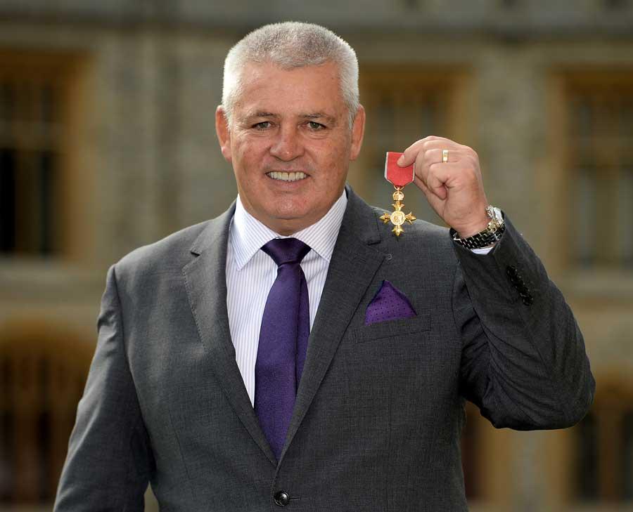 Wales boss Warren Gatland picks up his OBE from Windsor Castle